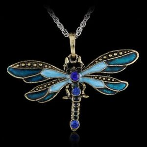 Silver Stainless Steel Insect Dragonfly Pendant Womens Brown Leather Necklace