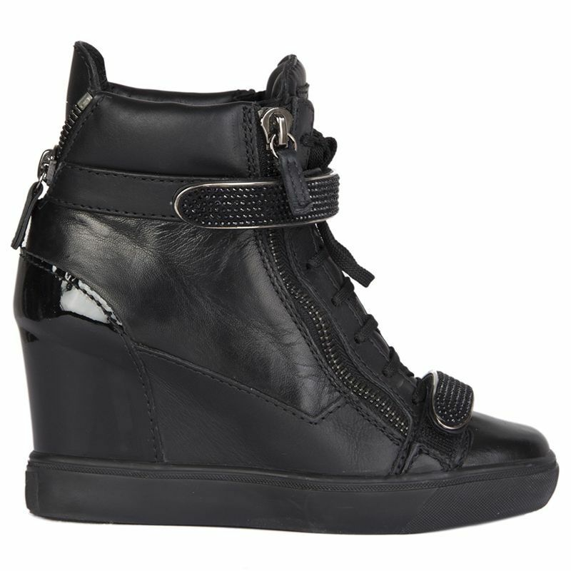 54779 auth GIUSEPPE ZANOTTI black leather VERONICA Wedge Sneakers shoes 36