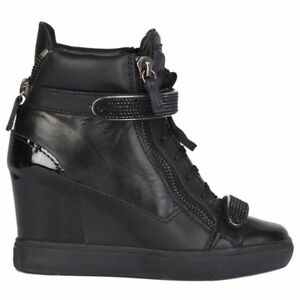 b7eed5c25af Image is loading 54779-auth-GIUSEPPE-ZANOTTI-black-leather-VERONICA-Wedge-