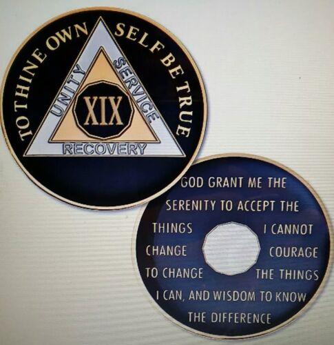 Rich Midnight Blue Enamel 19th Year XIX 19 Year AA Sobriety Coin Medallion