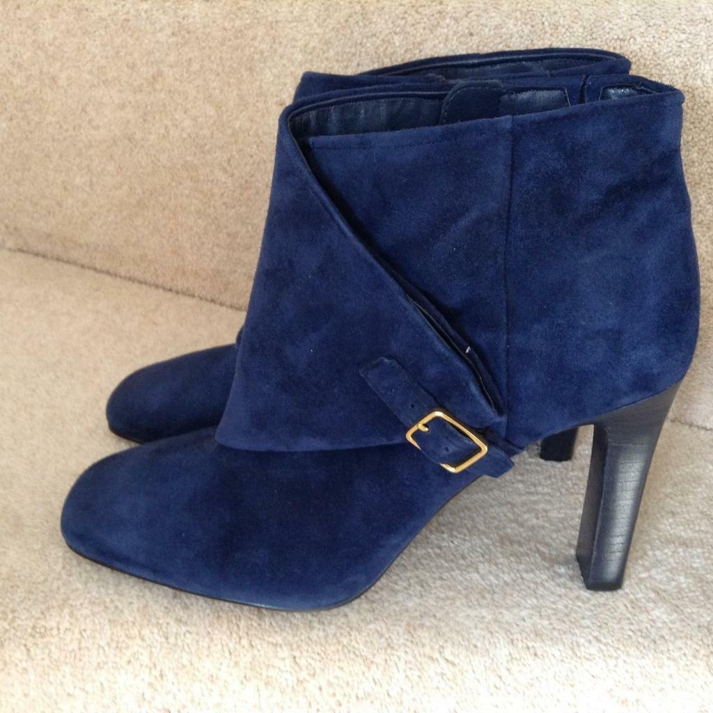 NAVY Blau REAL SUEDE ANKLE Stiefel..AUTOGRAPH MARKS & SPENCER..UK 7.5..NEW
