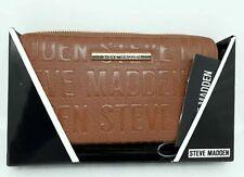 Steve Madden Cognac Brown Boxed Logo Zip Around Wallet Large