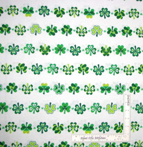 St Patricks Day Lucky Clovers on White Cotton Fabric Kanvas Studio By The Yard