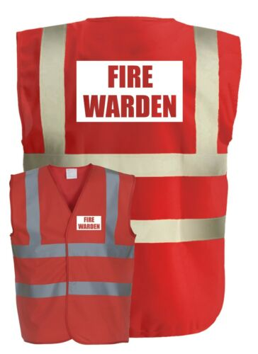 FIRE WARDEN Red Hi-Vis High-Vis Visibility Safety Vest//Waistcoat