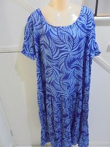 VICTORIA-HILL-NWT-SIZE-22-100-CRINKLE-COTTON-HYDRANGEA-PRINT-BLUE