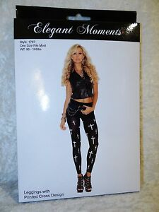 28cd43e6de2 Image is loading Womens-Footless-Leggings-Small-Large-Cross-Print-Stockings-