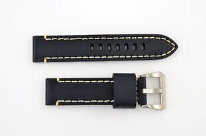 22mm-black-genuine-leather-watch-band-strap-heavy-duty-fit-Luminox-white-stitch