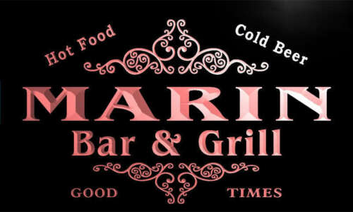 u28427-r MARIN Family Name Bar /& Grill Home Beer Food Neon Sign