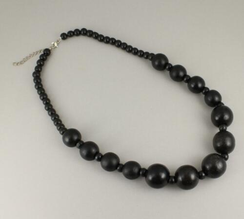 """Black wood necklace bead big chunky bead 21-23/"""" long necklace beaded wooden"""