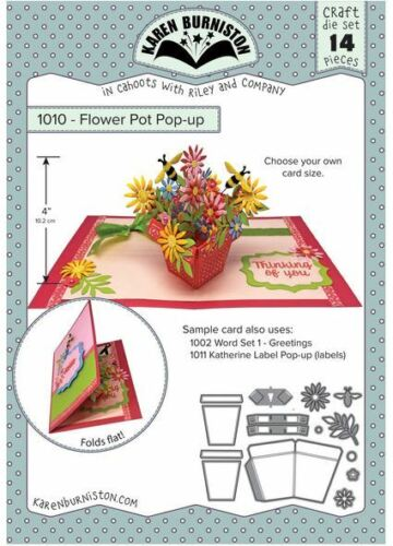 Karen Burniston Die Set ~  FLOWER POT POP-UP  Blooms ~ 3D Cards ~1010 KB Riley