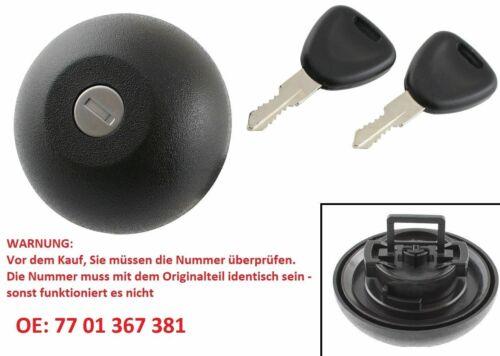 COPERCHIO Serbatoio Chiusura Coperchio 7701367381 chiave 2x per Renault//Opel