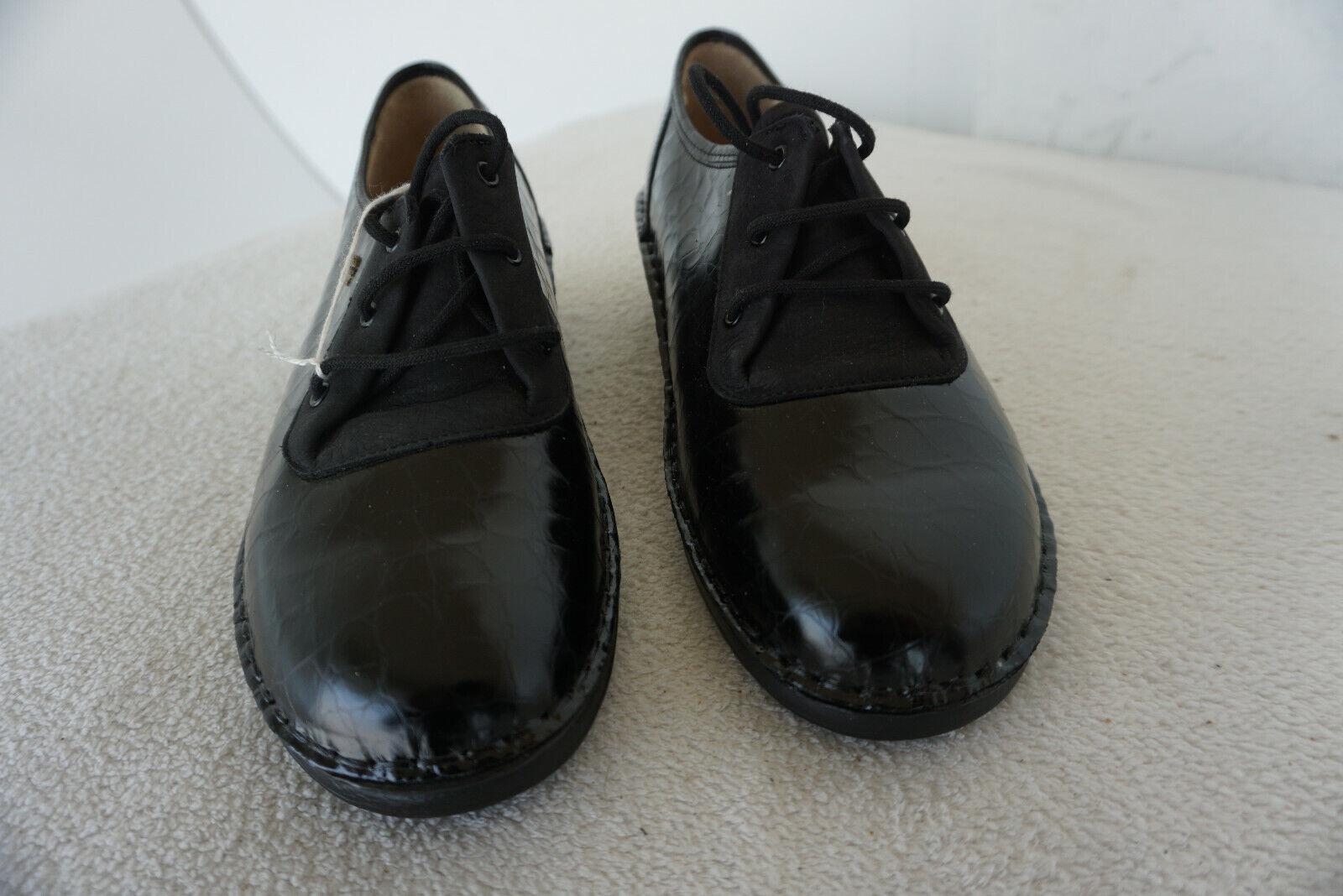FINN COMFORT Séville Chaussures Femmes Chaussure Lacée Taille 6 39 Noir en Cuir Véritable Neuf