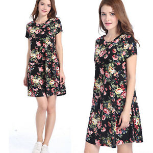 Casual Women Floral Short Sleeve Party Evening Cocktail Summer Short Mini Dress