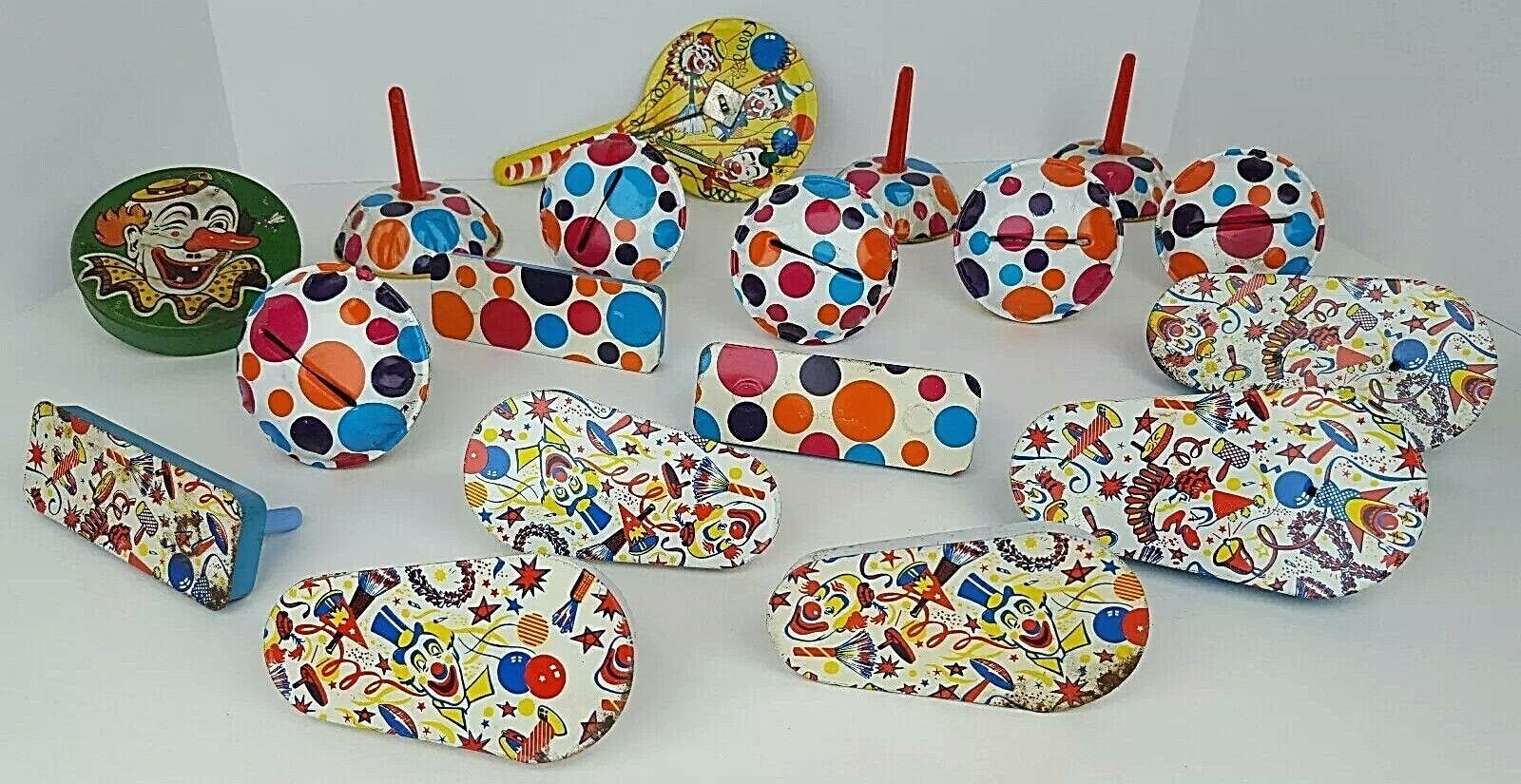 (18) årgång Variety Lot Tin Litho Noise Makers Polka Dots Clågner Nyårsafton
