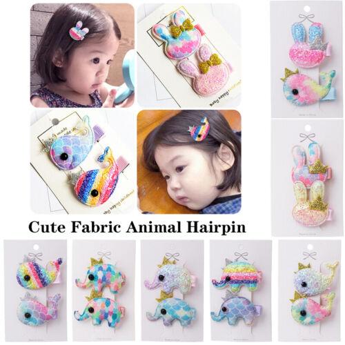 2Pcs Lovely Kids Hair Clips Glitter Rabbit Elephant Whale Girls Cute Hairpins yu