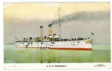 Military/Navy Ship -USS CHATTANOOGA AT ANCHOR- E Muller Postcard U.S.S.