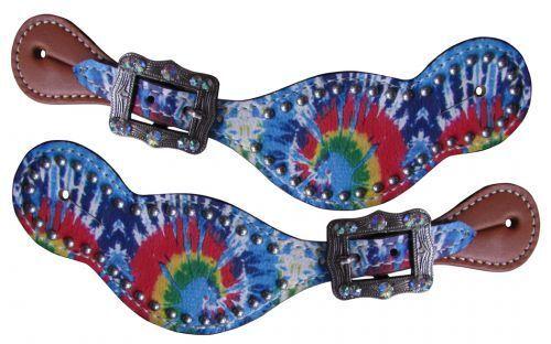 """NOUVEAU Adapter 8/"""" à 10/"""" showman Mesdames Taille Tie Dye Imprimé Cuir Spur bretelles"""