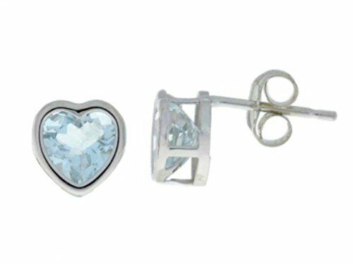 14Kt White gold Natural Aquamarine 6mm Heart Bezel Stud Earrings