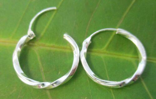 925 Sterling Silver 2mmx14mm 16mm 18mm TWIST Sleepers Earrings TEEN GIRL WOMEN