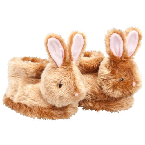 Soft Insoles, Brown Plush Easter Bunny Children's Slippers Full Coverage