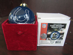 INDIANAPOLIS COLTS Glass Ornament Hand Painted Christmas ...