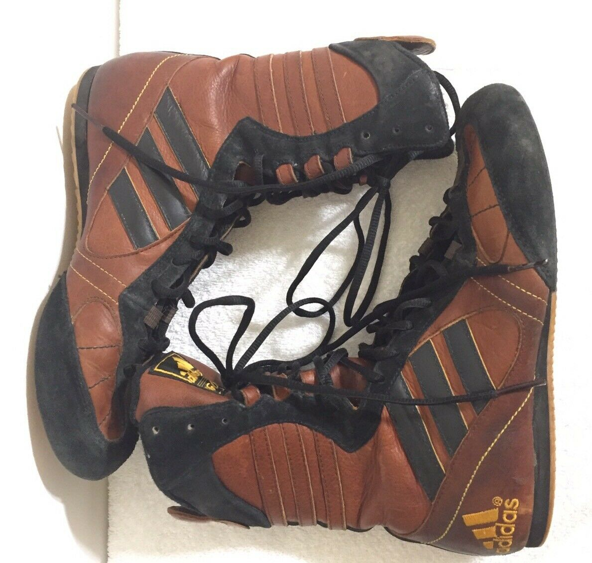 2004 adidas ringen, tygun lederstiefel hi tops boxen, ringen, adidas braune schwarze 5,5 f0b7c2