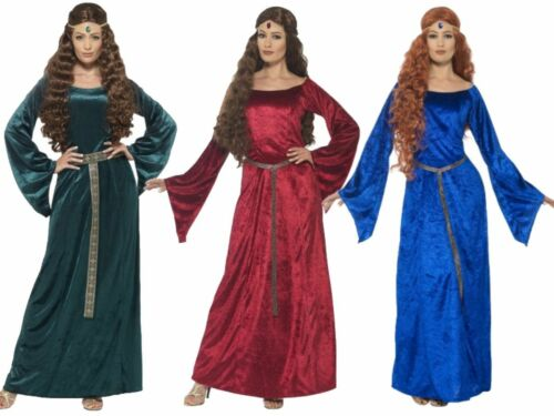 Ladies Medieval Maid Costume Adults Robin Hood Marion Fancy Dress UK 8-18