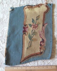 Stunning Deep Rose French Blue & Floral Antique Aubusson Wool Tapestry Fabric