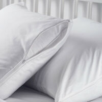 5 Standard Zippered Pillow Protectors, Pillow Cover 20x26 In. Cotton T-130 on sale