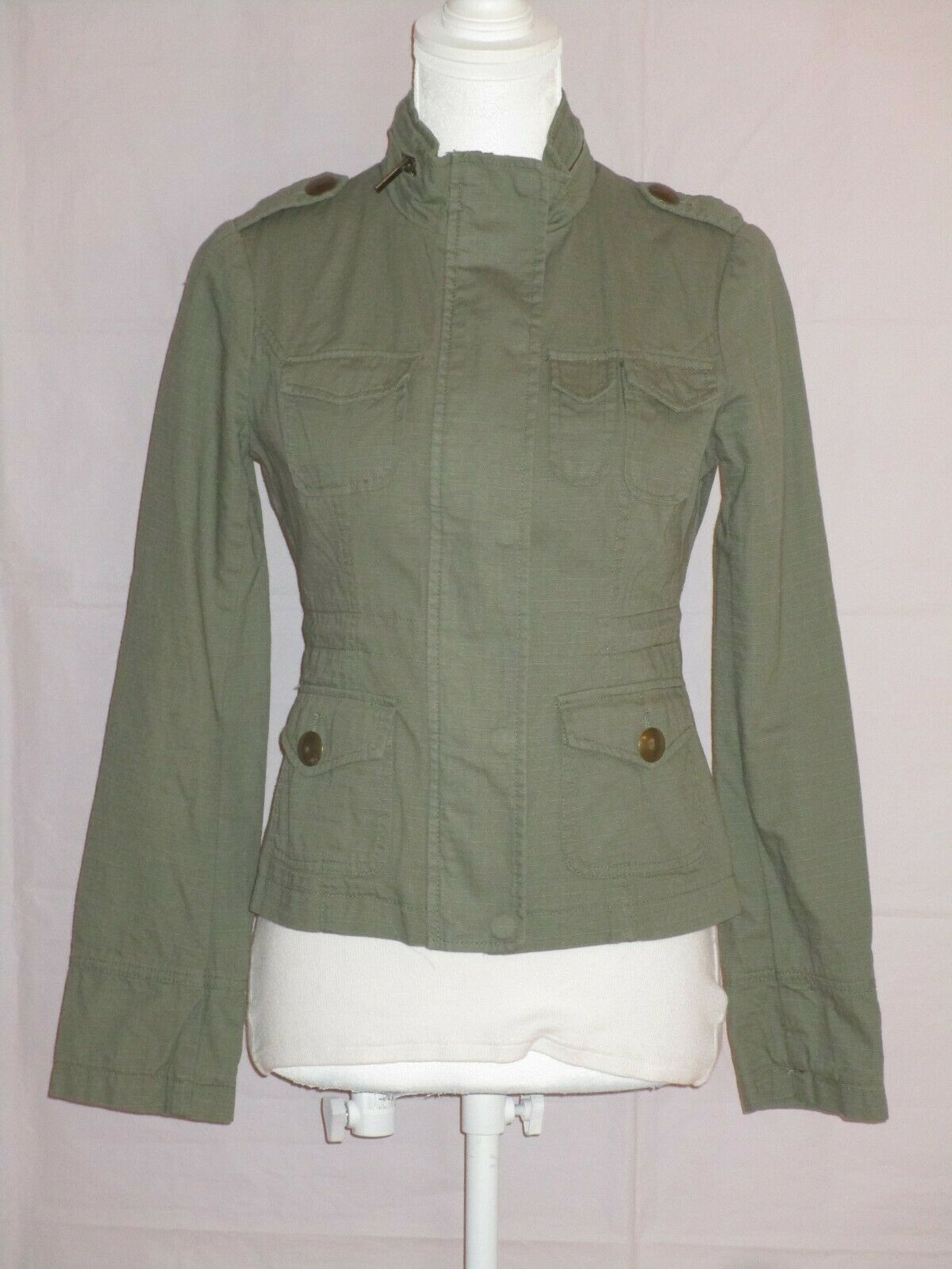 Blanc Noir Women's Olive Green Jacket Full Zip and Snap Adjustable Waist Size XS