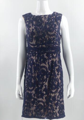 Simply Liliana Dress Sz 14 Navy Blue Lace Over Nud