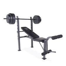 Weight Bench Set CAP Barbell Deluxe With 100Lb Weights Lifting Bar Press NEW