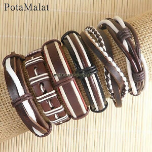 PotaMalat-6pcs-Men-jewelry-leather-bracelets-ethnic-tribal-wrap-hemp-bangles-D43
