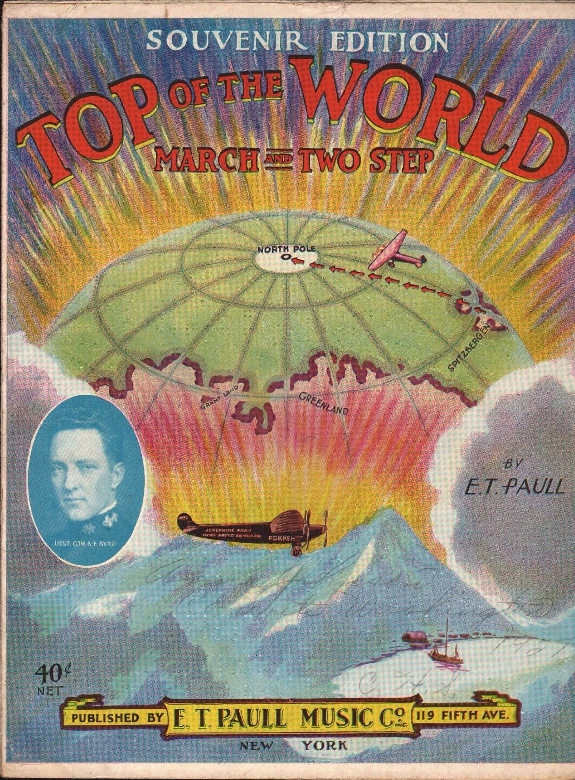 Top of the World 1926 E T PAULL Byrd Arctic NORTH POLE Expedition Sheet Music