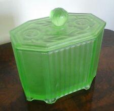 STYLISH VINTAGE ART DECO GREEN URANIUM  FROSTED GLASS BOX & LID FLOWER DESIGN