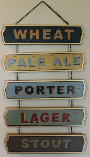 Beer Stout IPA Porter Lager Wheat Chain Wooden Sign Barware Alcohol Bar Decor