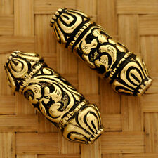 BD18 Tibetan Artisan Handmade Solid Brass 2 Bead from Nepal by Eksha Creations