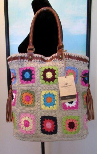 "NWT PATRICIA NASH Knit Squares Crochet /""BEVERA/"" Shoulder Tote"