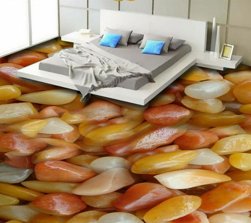 3D Naranja Forma Piedras Papel Pintado Mural Parojo Calcomanía de impresión de piso 5D AJ Wallpaper
