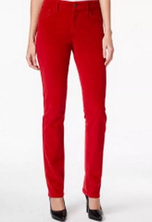16 NEW  NYDJ MARILYN STRAIGHT CARDINAL RED CORDUROY PANTS