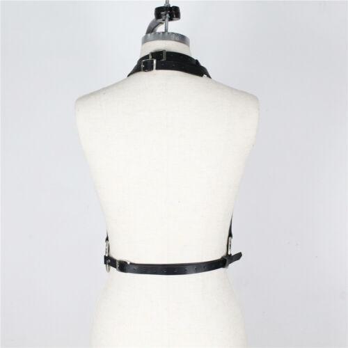 Women Faux Leather Harness Chest Garter Strap Body Bondage BDSM Waist Suspenders