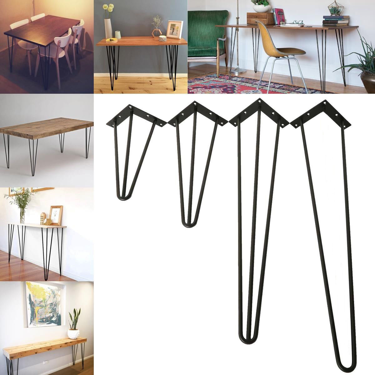 3 Rod Multiple Size Metal Hairpin Table Leg Set Of 4 Solid