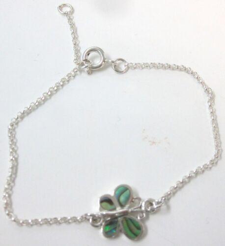 925 STERLING SILVER Paua Shell Abalone Shell Butterfly Adjustable 18cm Bracelet