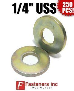 "Qty 250 Grade 8 Yellow Zinc 1//4/"" SAE Flat Washers Thru-Hardened"