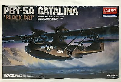 """BRAND NEW Academy 2137 1/72 PBY-5A Catalina """"Black Cat"""" Airplane Model FAST SHIP"""