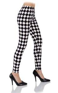 8b10f7855c37c Image is loading Leggings-Black-White-Argyle-Diamond-Checkered -Harlequin-Adult-