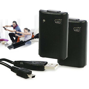 2-x-Manette-Sans-Fil-Rechargeable-Battery-Pack-pour-Xbox-360-Noir