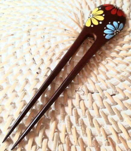 Pic à Cheveux en Bois Pique Ethnique baguette cheveux chignon peint fleur