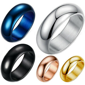 Stainless-Steel-7mm-Dome-Ring-Polished-Comfort-Fit-Men-039-s-amp-Women-039-s-Wedding-Band