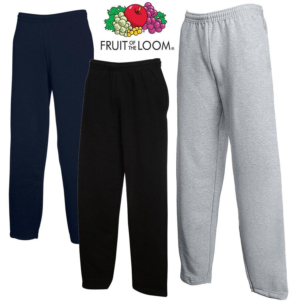 2 Pack Fruit Of The Loom Jogging Pantalon Survêtement Bottoms Ouverte Ourlet Jambe Survêtement Confortable